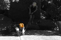 Rock Climbing Photo: Matt starting up Recollections of Pacifica - Preci...