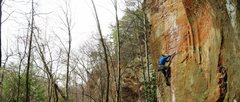Rock Climbing Photo: Adam on To Defy the Laws of Tradition - RRG - Kent...