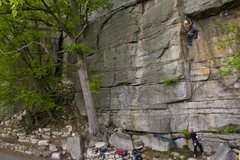 Rock Climbing Photo: Chris on Retaliation - Gunks - NY