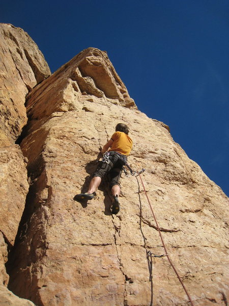 Rock Climbing Photo: At the top of the crack feature, searching for sin...