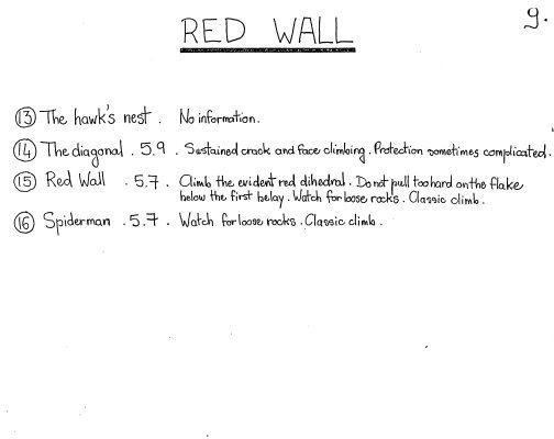 """Eric Hufnagel and Bertrand Gramont's beta for Redwall from 1985.  Full """"blue book"""" available on my bouldering guide, in the history section."""