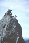 Rock Climbing Photo: Rapping off the Innaccessible Pinnacle of Squrr De...