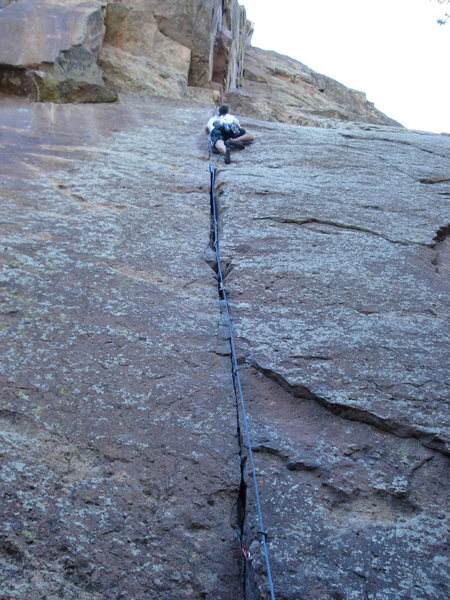M. Wood on RINCON (5.11), Eldorado Canyon