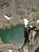 Rock Climbing Photo: D. Fuchs on pitch 8 of the Petit Grepon, RMNP, Jul...