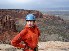 Rock Climbing Photo: Heather Mrozek on the summit of Independence Monum...