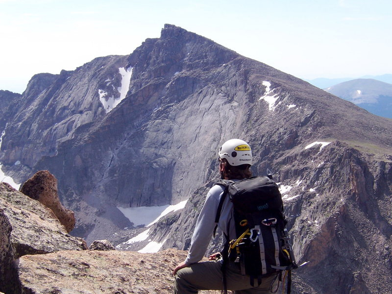 Daniel Fuchs near the summit of Mchenrys with Cheifshead in the background, July 2005