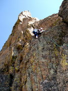 Rock Climbing Photo: Andy Novak leading the 4th pitch on the South Aret...