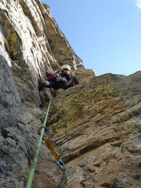 Great stemming on the Tolle Route, Rock Springs Buttress, Jackson, Wyoming. 2009