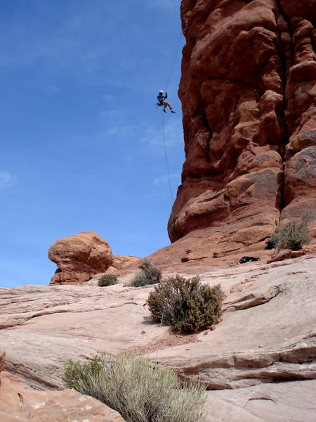Rapping off Owl Rock in Arches National Park, Utah, 2009. Great route and great day.