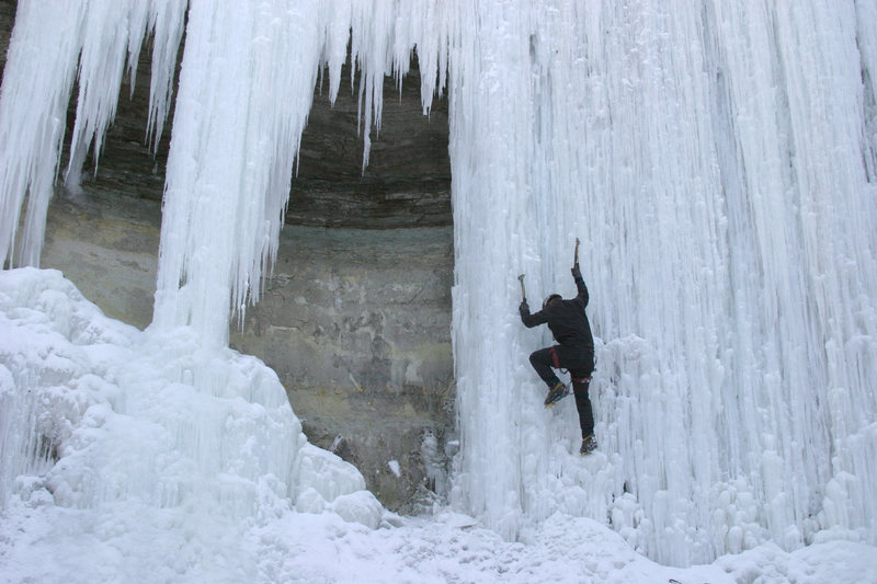 Frozen Mississippi, ice climbing near downtown Minneapolis, MN