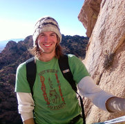 Hanging out at the top of the first pitch of Peacemaker on Sheepshead Rock in the Cochise Stronghold.