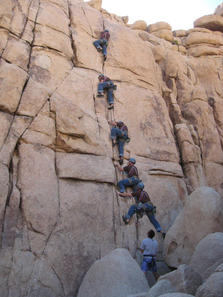 A time lapse photo of me leading Taurus on the Atlantis Wall at Joshua Tree.  One of my first 5.8 leads.
