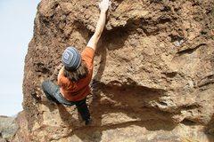 Rock Climbing Photo: Crux pull on Talk Talk, V4