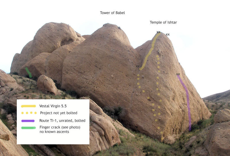 Vestal Virgin route shown in yellow. Two possible first pitches yet to be put up in yellow dots. The one on the left looks like 5.5 and the direct arete looks like 5.7 or harder.