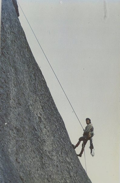 Rock Climbing Photo: P.Ross on the FA of the Girdle Traverse .The Big P...