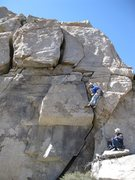 Rock Climbing Photo: Tai Devore FA-ing crux pitch 5, belayed by Jeremy ...