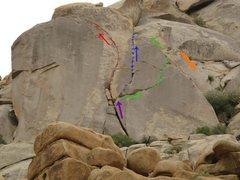 Rock Climbing Photo: Red= Taken for Granite Blue= 200 Motels Green= Bac...