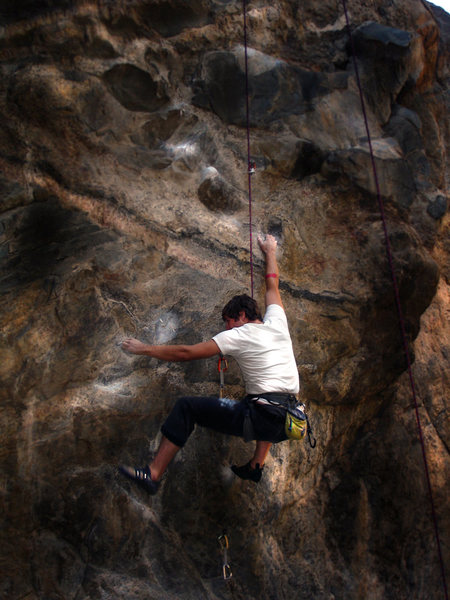 """Rock Climbing Photo: Jason on """"Ken Tanks"""" just after a broken..."""