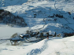 Rock Climbing Photo: More Winter 2009/10. Hiking down to the small vill...