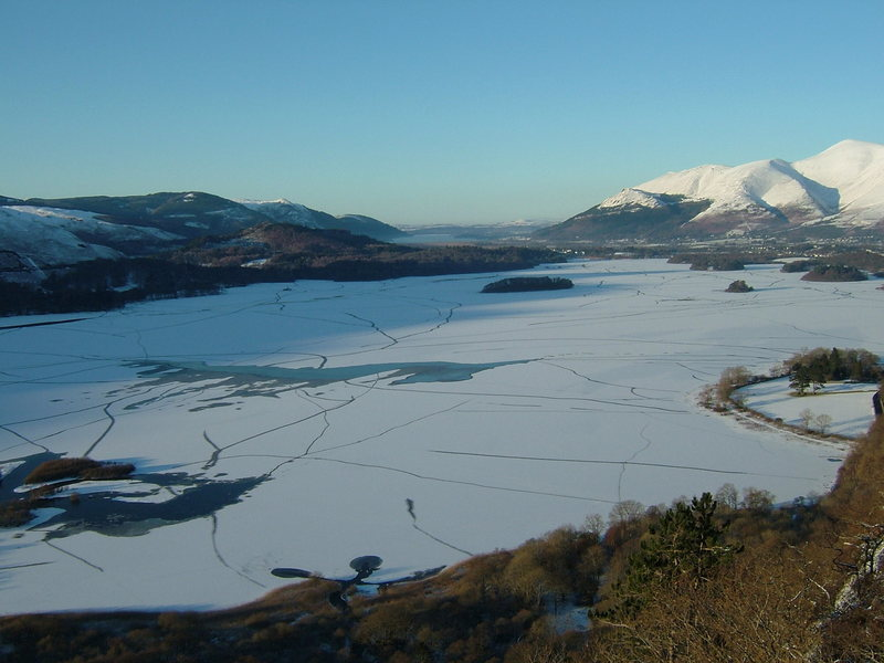 A rare view of a frozen Derwentwater taken from Walla Crag Jan /10. Photo Pete Armstrong