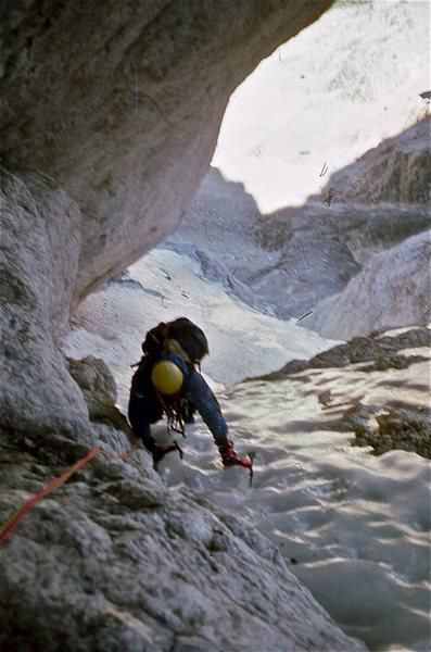 Chuck Crago exiting the crux of the Black Ice, September conditions.