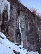 Rock Climbing Photo: Thin and Bear It with ice. It has been forming up ...