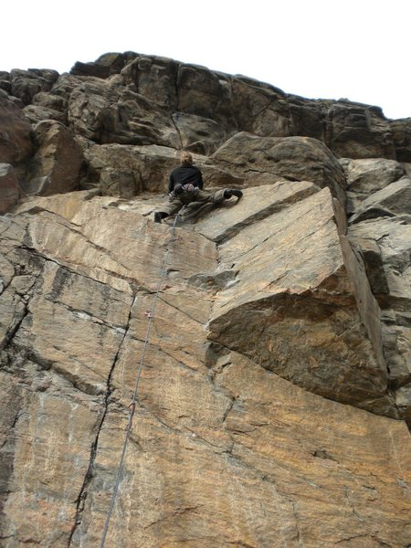 Rock Climbing Photo: Sizing up the rest of the route.