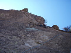Rock Climbing Photo: Susan finishing up on Crackerjack Crack