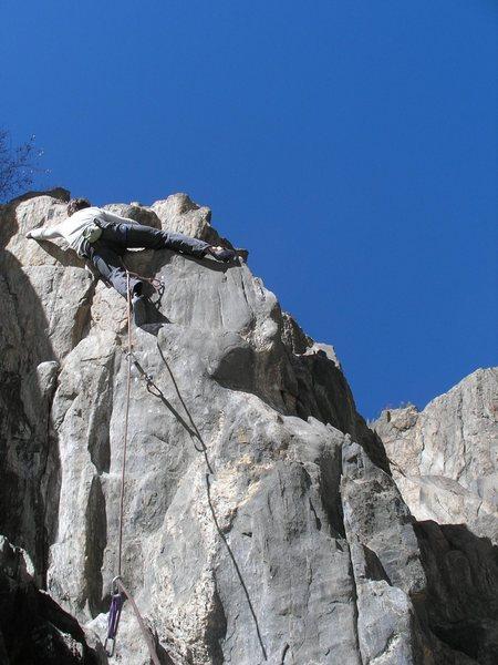 Rock Climbing Photo: Jason near the top.