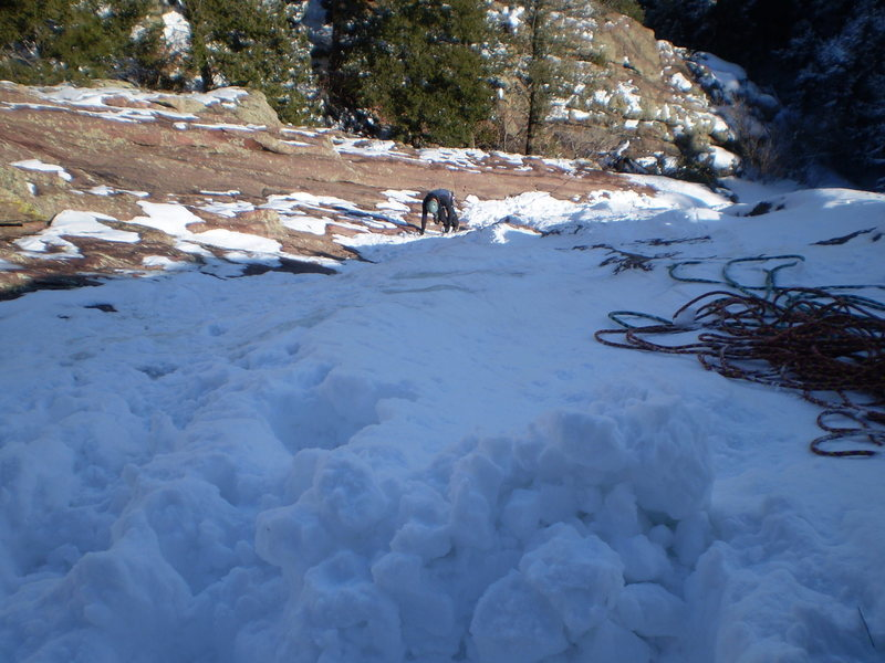 Rock Climbing Photo: Kip on P1 fat snice.