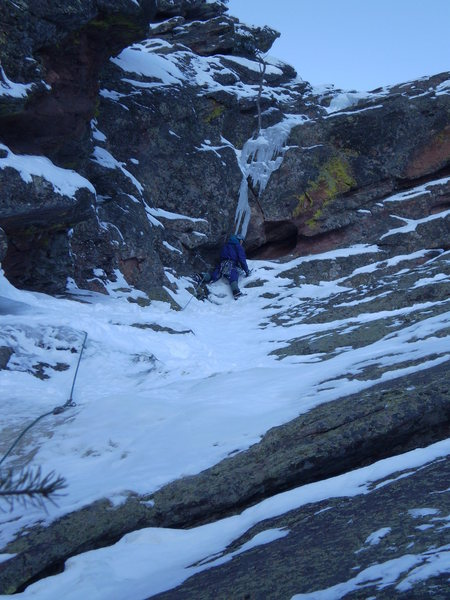 Rock Climbing Photo: Tom assessing the left finish.