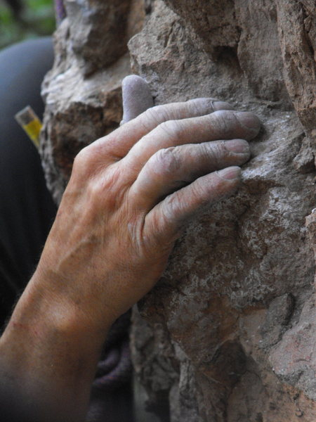 """Rock Climbing Photo: Chalky hands on the blocky holds of """"Oolong.&..."""
