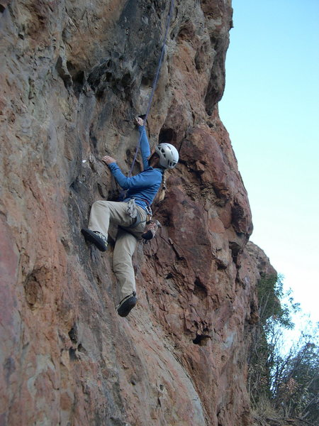 """Rock Climbing Photo: Pulling the initial moves of """"Blackjack.&quot..."""