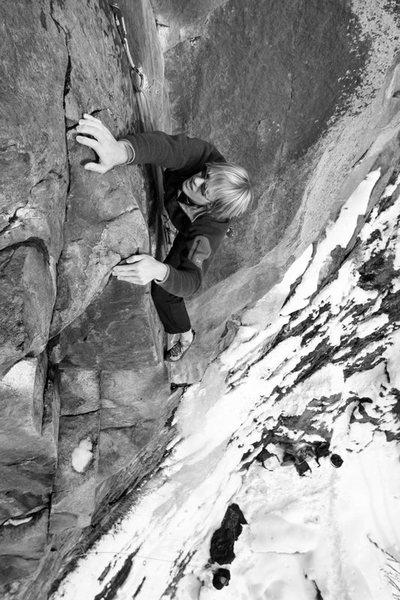 Rock Climbing Photo: kevin getting through the crux...