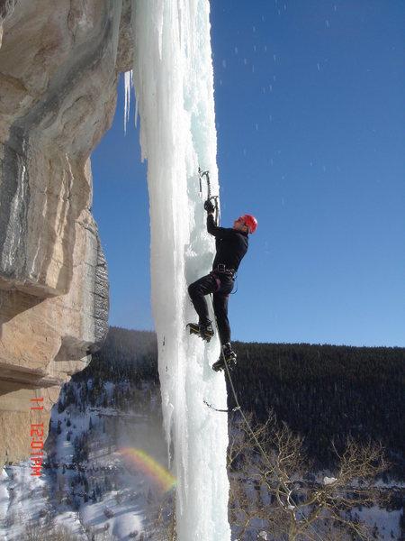 Clay's Pillar at Booth, lead by Brad Grohusky 12/11/05, climber in photo, Eric Lashinsky.
