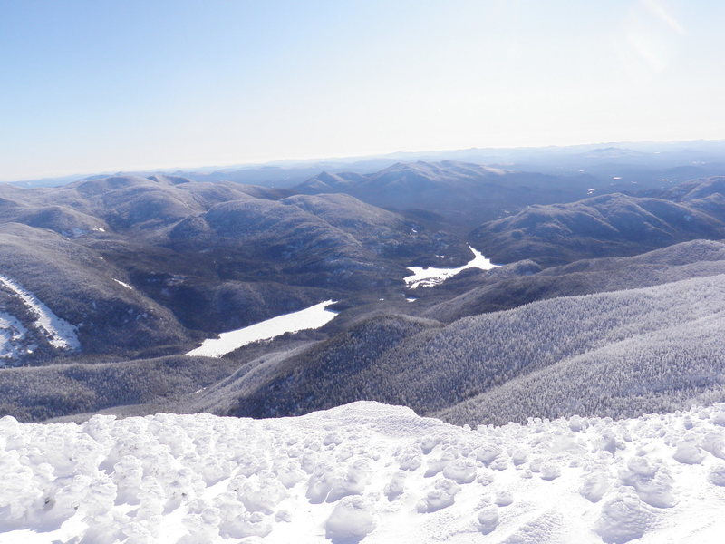 Flowed lands (far) and Lake Colden (near) from just below summit of Algonquin