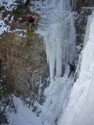 Rock Climbing Photo: Hidden Falls, 3rd pitch, left side, leader Carl Pl...