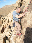Rock Climbing Photo: Matt, with some fancy footwork on The Unreported, ...
