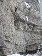 Rock Climbing Photo: Brad G having cleared the crux roof. MT on belay. ...