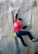 Rock Climbing Photo: James on Forged in Fire (V1), Joshua Tree NP
