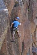 Rock Climbing Photo: Mike Sokoloff near the top of Bachs Celebration