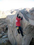 Rock Climbing Photo: Near the top of Winged Assassins (V1), Joshua Tree...
