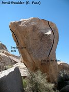 Rock Climbing Photo: Photo/topo for Anvil Boulder (E. Face), Joshua Tre...