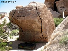 Rock Climbing Photo: Photo/topo for the Feudal Boulder, Joshua Tree NP