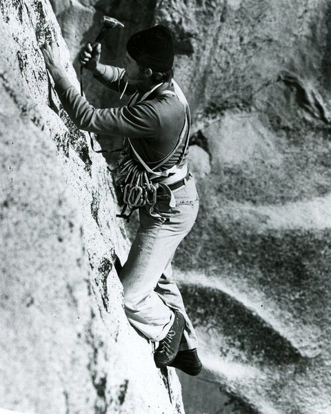 Ivan Couch drilling on the first ascent, pitch 1.