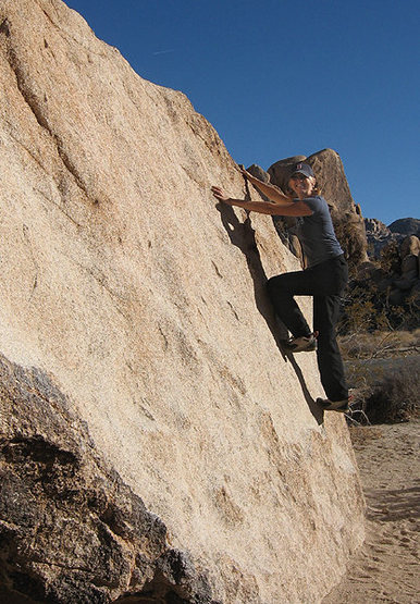 Sonya wondering why this is considered a boulder problem.<br> Photo by Blitzo.