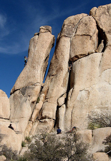 Climbers on &quot;Invisible Touch&quot; and &quot;Jumping Jack Crack&quot;.<br> Photo by Blitzo.