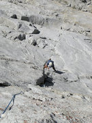 Rock Climbing Photo: Alex getting into the underclings on the first pit...