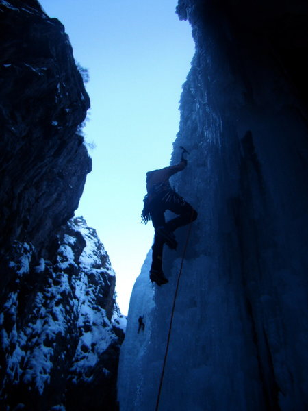 Jordon Griffler Leading out on Abridgment -Ouray Ice Park Fest 2010