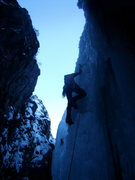 Rock Climbing Photo: Jordon Griffler Leading out on Abridgment -Ouray I...